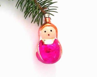 Matryoshka, girl, soviet Christmas tree decoration, glass Xmas ornament, New Year, USSR, 1960s