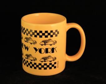 Vintage New York Taxi Cab Yellow Checker Coffee Mug