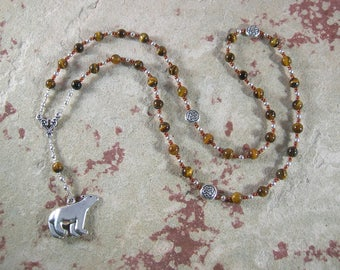 Artio Prayer Beads in Tiger Eye: Gaulish Celtic Goddess of the Bear