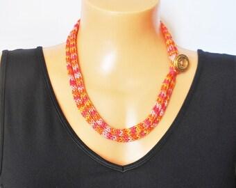 Boho cotton bracelet, hand  knitted jewellery, i-cord necklace, orange, button fastening, lariat necklace, knit accessory, Kwirky Knits UK