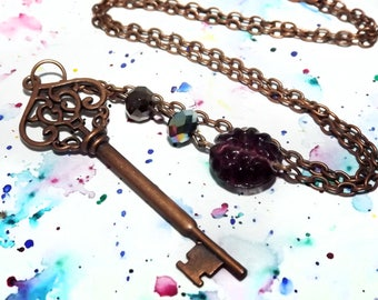 Large key necklace - Copper skeleton key necklace - Steampunk jewelry - Filigree key necklace - Steampunk copper necklace - Bohemian jewelry