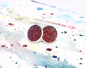 Pink stud earrings - Pink cabochon earrings - Floral cabochon earrings - Pink rose stud earrings - Flower girl earrings - Free shipping