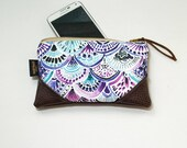 Mini Dreamy Boho Mermaid Scales Zipper Pouch / Mini Clutch with inside lining and Zipper Pull or Leather Wristlet Strap