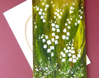 Lily of the valley Art card Happy Birthday Special occasion Paper handmade card Hand painted card Birthday card Lily of the valley art