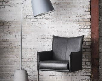 Tall Grey Floor Lamp with concrete base.