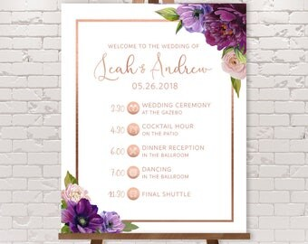 Purple Timeline Sign / Wedding Itinerary Agenda with Icons /  Purple Flowers, Anemone Peony Rose Gold ▷ Printed Paper, Canvas {or} Printable