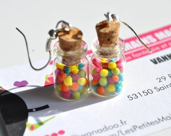 mix of Candy colored bottle earring