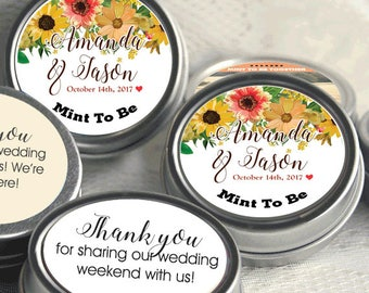 Personalized Mint to Be Tin Mints Wedding Favor - Mint to Be Favor - Bridal Shower Favor - Mint Favors  - Fall Flowers - Fall Wedding Favor