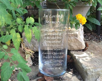 This Light Shines Memorial Vase - In Loving Memory Vase -Floating Wedding Memorial Candle - Memorial Candle - Engraved Memorial Cylinder