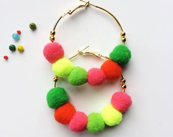 Gold tone hoop earrings with beads and pom poms, beaded hoop earrings, pom pom earrings, bright orange neon yellow green blue pink pom poms