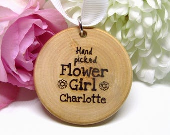 Personalised Flower Girl Bouquet Charm Wooden Rustic Wedding Shabby Chic Wedding Gift Engraved Wood Slice