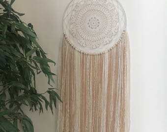 Large Doily Dreamcatcher / Large Neutral Dreamcatcher / Large White Dreamcatcher / Large Tan Dreamcatcher / Large Nursery Boho Dreamcatcher