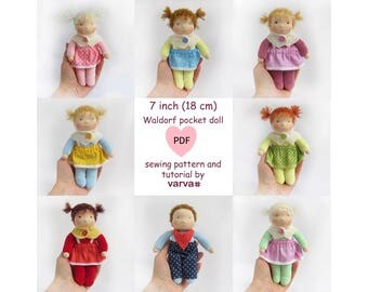 "DIY, PDF sewing pattern and tutorial of a 7"" (18 cm) small waldorf pocket doll. Patterns of doll clothes as bonus!"