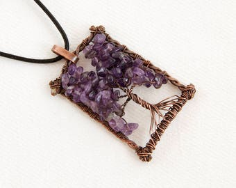 Family Tree Necklace - Tree of Life Copper - Amethyst Tree - Tree Life Copper - Wire Wrapped Tree - Wire Tree Necklace - Copper Tree of Life
