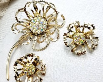 Sarah Coventry Allusion Large Flower Brooch and Matching Clip Earrings Demi Parure