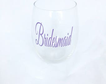 Bridesmaid Stemless Wine Glass, Bridesmaid Glass, Bridesmaid Gift, Bridesmaid, Bridesmaid Proposal, Wedding Party, Bachelorette Party