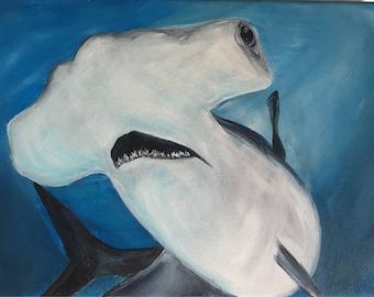 Hammerhead Shark Acrylic Painting