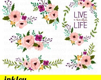 Pink Flower Clipart, Pink Flower Clip Art, Pink Flower Png, Pink Floral Clipart, Watercolor Floral Clipart, Watercolor Pink Flower Clipart