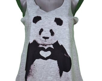 tank top women's print panda - size single (36-40) / / panda print summer girl tank-top single size