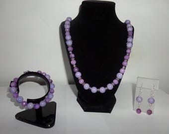 Light Purple Riverstone  and malaysian quartz Jewelry set