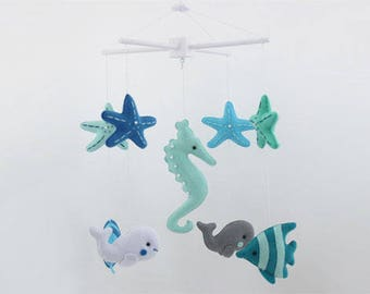READY TO SHIP - Marine Mobile,Baby Mobile, Mobile, Nursery Mobile, Nursery Decor, Felt Mobile, Mint, Green and Blue Mobile, Crib Mobile