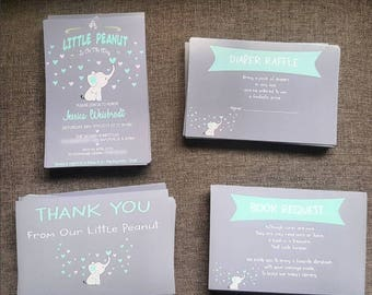LITTLE PEANUT baby shower invitation set (Invite+Diaper Raffle+Book Request+Thank You Insert) - Free Envelopes - Any Color