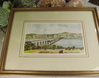 The Tay Road Bridge, Print Watercolour Framed , Scottish Dundee ( H. F. McGregor )