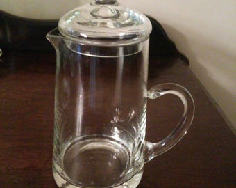 Very Vintage Glass Syrup Pitcher with Glass Lid