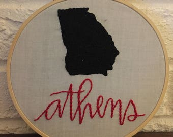 Athens, Georgia Embroidery Hoop Art - Handlettered