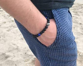 8MM Black Onyx and Lapis Lazuli Gemstone Bracelet with Sterling Silver Bali Bead/ Mens Bracelets/ Men's Beaded Bracelet/ Boyfriend Gifts
