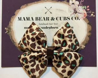 blue leopard bow, leopard print bows, leopard print, hair bows, hair clips, girls hair bows, hair bows for girls, boutique bows, kids bows