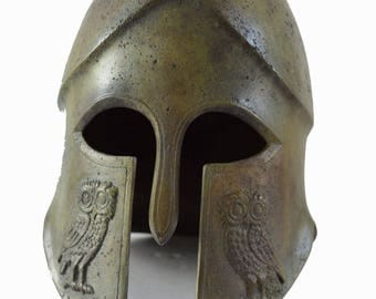 Helmet bronze owl carved ancient Greek reproduction