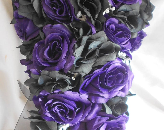 Cascading royal purple and black bouqueet