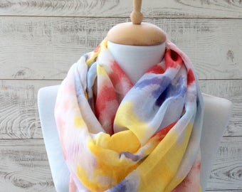 Yellow scarf watercolor print scarf infinity scarf women shawl gift ideas for her fashion accessories scarves infinity scarf