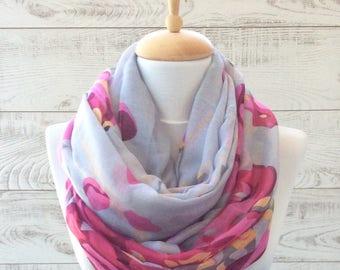 Scarf flower print scarf infinity scarf gray scarf women scarf fashion scarf gift ideas for her fashion accessories scarves infinity scarf