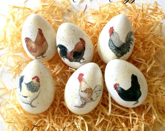 Easter agg etsy chicken easter eggs decoupage farmhouse decor country kitchen rustic eggs centerpiece negle Gallery