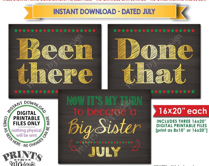 Been There Done That Pregnancy Announcement My Turn to be a Big Sister in JULY, Christmas Theme Instant Download Printable Pregnancy Signs