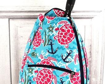 Island Delight Tennis Racket Backpack/ Unique Tennis Backpack/ Youth Tennis Backpack/ Preppy Tennis Backpack