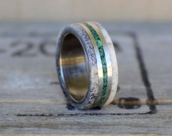 Men's Wedding Band: Natural Shed Elk Antler and Green Malachite Stone Inlay Separated by Metal lines Outdoor staghead staghound ring designs