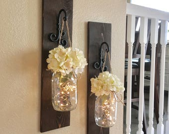 Large Set Of Lighted Mason Jar Sconces, Wall Decor,Mason Jar Wall Decor,