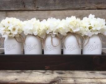 Long Planter Box With 5 Quart Painted Mason Jars,Rustic Table Centerpiece, Centerpieces, Farmhouse Table Decor, Kitchen Table Centerpiece,