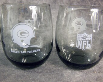 Set of Eight Green Bay packers Roly Poly Glasses Smokey Grey Barware, 12 oz