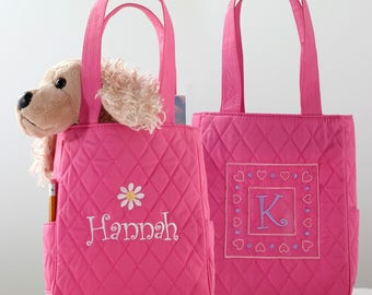Little Girls Quilted Pink Mini-Tote with Polka Dot Lining (c118-1143) - Free Personalization