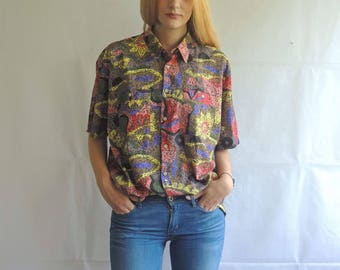 Vintage Colorful Abstract Print Button Up Blouse