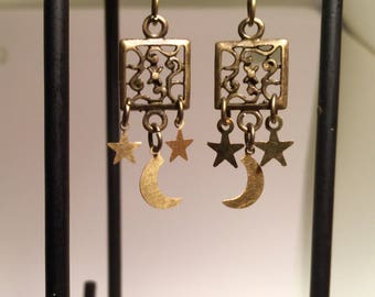 Antique Brass Filagree Moon and Stars Earrings