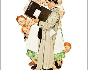 """The Census Taker and Full Treatment, Post covers painted by Norman Rockwell in 1940. The page is approx. 11 1/2"""" wide and 15"""" tall."""