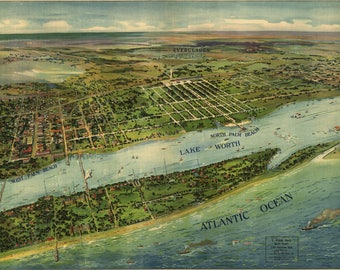 Palm Beach, FL. Panoramic Map from 1916. This print is a wonderful wall decoration for Den, Office, Man Cave or any wall
