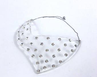 Vintage 1980s lucite plastic plexiglass rhinestones chocker