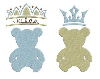 Bear with crowns embroidery machine designs