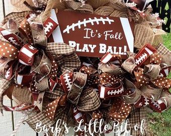 Football Wreath, Football Wreaths, It's Fall Play Ball,  Fall Football Wreath, Fall Wreath, Football Lace Ribbon, Antique Football Ribbon